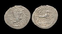 Ancient Roman Republican Coins - M. Lucilius Rufus - Victory in Biga Denarius