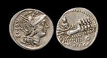 Ancient Roman Republican Coins - L. Sentius C. f. - Jupiter in Quadriga Denarius