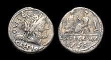 Ancient Roman Republican Coins - L. Calpurnius Piso Caesoninus and Q. Servilius Caepo - Two Quaestors Denarius