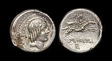 Ancient Roman Republican Coins - L. Calpurnius Piso Frugi - Naked Horseman Denarius