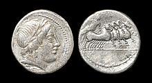 Ancient Roman Republican Coins - Anonymous Issue - Jupiter in Quadriga Denarius