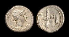 Ancient Roman Republican Coins - C. Norbanus - Symbols Denarius