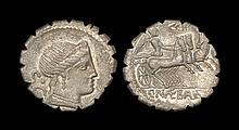 Ancient Roman Republican Coins - C. Naevius Balbus - Victory in Triga Serrate Denarius