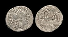 Ancient Roman Republican Coins - L. Rutilius Flaccus - Victory in Biga Denarius
