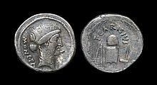 Ancient Roman Republican Coins - T. Carisius - Coin Minting Implements Denarius