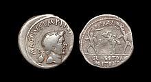 Ancient Roman Republic Coins - Pompey the Great (under Sextus Pompey) - Neptune, Anapais and Amphinomus Denarius