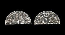 Anglo-Saxon Coins - Aethelred II - Lincoln / Rafen - CRVX Cut Halfpenny