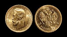 World Coins - Russia - Nicholas II - 1902 - Gold 5 Roubles