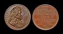 World Commemorative Medals - France - Jean Fontaine 1816 - Copper Portrait Medal