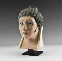 Egyptian Polychrome Mask with Glass Eyes