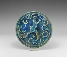 Post Medieval Italian Blue Glazed Satyr Plaque