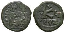 Ancient Byzantine Coins - Justin II and Sophia - Portrait Half Follis