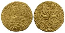 English Medieval Coins - Edward III - London - Transitional Treaty Gold Half Noble
