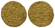 English Medieval Coins - Edward III - London - Treaty Gold Quarter Noble