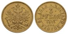 World Coins - Russia - Nicholas I - 1873 - Gold 3 Roubles