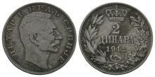 World Coins - Serbia - Peter I - 1912 - 2 Dinara