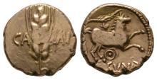 Celtic Iron Age Coins - Trinovantes and Catuvellauni - Cunobelin - Wild Variant Gold Quarter Stater