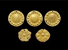Western Asiatic Scythian Gold Repousse Fitting Group