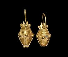 Western Asiatic Parthian Gold Earring Pair