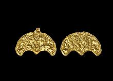 Central Asian Scythian Gold Figural Pendant Pair