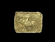 Western Asiatic Achaemenid Gold Bull Plaque