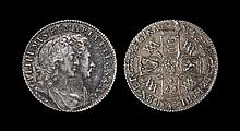 English Milled Coins - William & Mary - 1693 over 1603 - Shilling