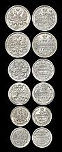 World Coins - Russia - 1903-1915 - 10, 15 and 20 Kopeks Group [6]