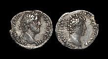 Ancient Roman Imperial Coins - Antoninus Pius - Double Portrait Denarius