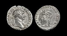 Ancient Roman Imperial Coins - Trajan - Victory Inscribing Shield Denarius