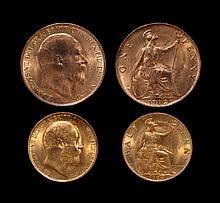 English Milled Coins - Edward VII - 1902 and 1904 - Penny and Halfpenny [2]