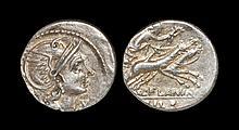 Ancient Roman Republican Coins - L. Flaminius Chilo - Victory in Biga Denarius