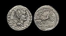 Ancient Roman Republican Coins - M Lucilius Rufus - Victory in Biga Denarius