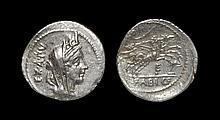 Ancient Roman Republican Coins - C. Fabius Cf Hadrianus - Victory in Biga Denarius