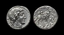 Ancient Roman Republican Coins - Mn. Fonteius - Cupid on Goat Denarius