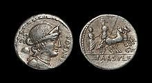 Ancient Roman Republican Coins - Lucius Farsuleius Mensor - Roma in Biga with Male Mounting Denarius