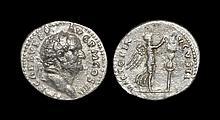 Ancient Roman Imperial Coins - Vespasian - Victory Denarius
