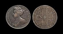 English Milled Coins - Anne - 1707 - Crown