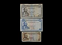 World Banknotes - Kenya - Central Bank of Kenya - 1966-1969 Issues - 5, 20 and 50 Shillings