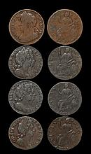 English Milled Coins - Charles II to William III - 1675, 1694(2), 1696 - Halfpenny Group [4]