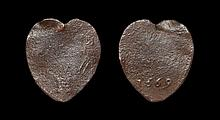 English Tokens - Charles I - Yorkshire - Kingston upon Hull - Mary Witham - Heart-Shaped Halfpenny Trade Token