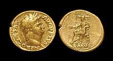 Ancient Roman Imperial Coins - Nero - Salus Gold Aureus