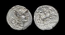 Ancient Roman Republican Coins - T. Cloelius - Victory in Biga Denarius