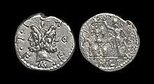 Ancient Roman Republican Coins - M. Furius L.f. Philus - Roma Crowning Trophy Denarius