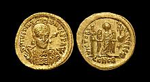 Ancient Byzantine Coins - Justinian - Angel Gold Solidus