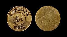 Tokens - Ireland - Curragh Interment Camp - 1940 - Brass 6d Token