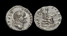 Ancient Roman Imperial Coins - Vespasian - Emperor Seated Denarius