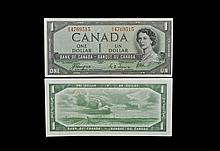 World Banknotes - Canada - Bank of Canada - 1954 Issue - 'Devil's Face Hairdo' 1 Dollar