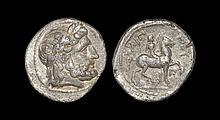 Ancient Greek Coins - Macedonia - Philip II - Horseman Tetradrachm