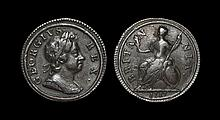 English Milled Coins - George I - 1717 - Dump Farthing