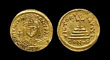 Ancient Byzantine Coins - Tiberius II Constantine - Cross-on-Steps Gold Pseudo-Solidus
